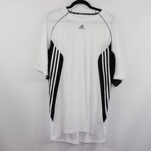 Adidas White Size 2XL Mesh Soccer Fitness Shirt